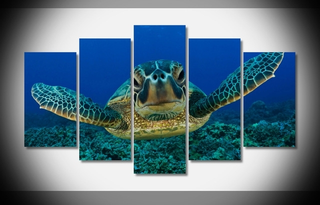 Sea Turtle Seabed Looking Marine 5 Pieces/sets Canvas Art Canvas With Sea Turtle Canvas Wall Art (View 4 of 25)