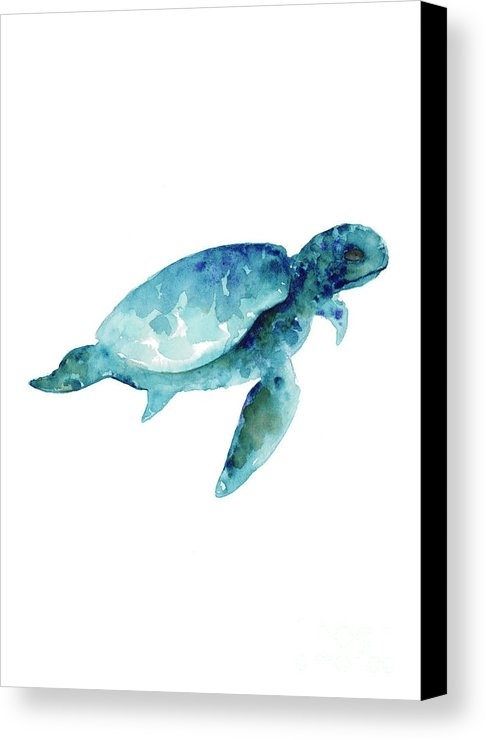 Sea Turtle Wall Art Print, Abstract Sea Animals Nursery Wall Art Intended For Sea Turtle Canvas Wall Art (View 10 of 25)