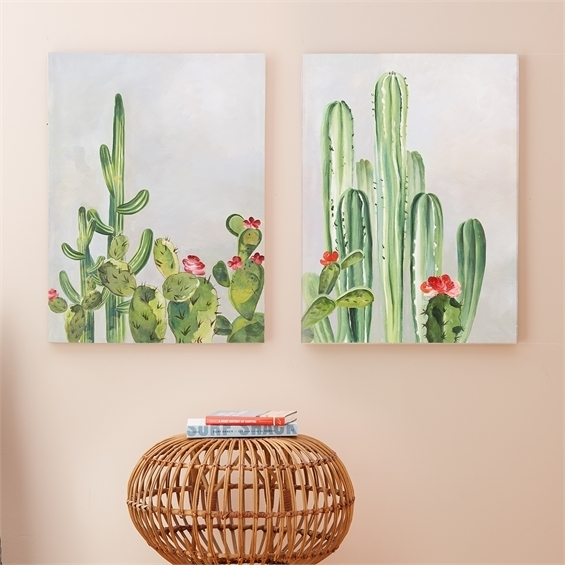 Set Of 2 Cacti Wall Art Inside Cactus Wall Art (View 4 of 20)