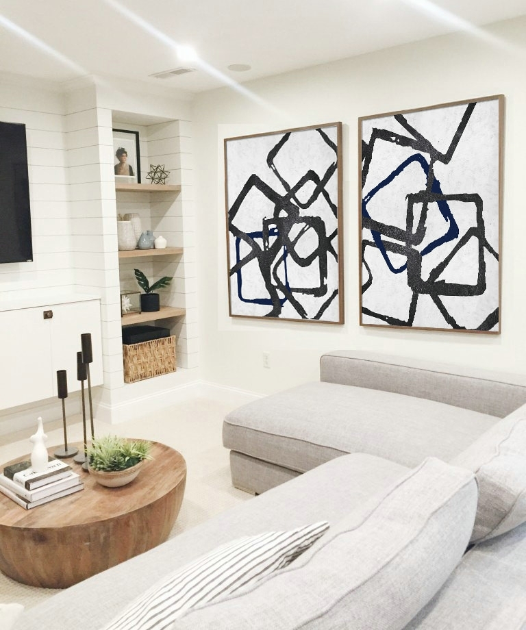 Set Of 2 Huge Contemporary Art Acrylic Painting On Canvas With Regard To Black And White Large Canvas Wall Art (Image 21 of 25)