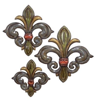 Set Of 3 Fleur De Lis Wall Decor – Globe Imports For Fleur De Lis Wall Art (Image 22 of 25)