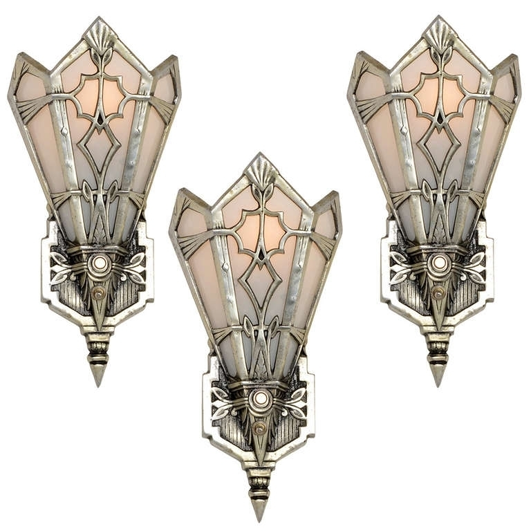 Set Of 3 High Style Aluminum Art Deco Sconces Or Wall Pockets Usa In Art Deco Wall Sconces (Image 22 of 25)
