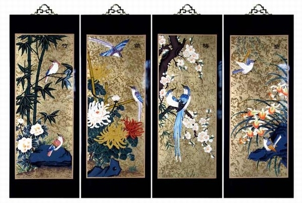 Set Of 4 Oriental Lacquered Painting Wall Art Plaques (Four Seasons) Med Inside Oriental Wall Art (Image 21 of 25)