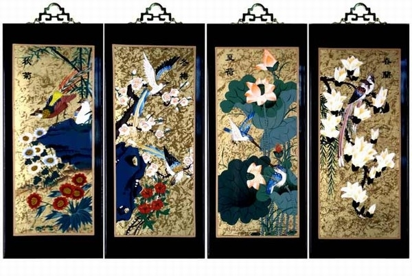 Set Of 4 Oriental Lacquered Painting Wall Art Plaques (Four Seasons) Sm For Oriental Wall Art (Image 22 of 25)