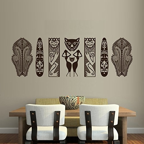 """Set Of African Tribal Masks And Figures Wall Decal – 45"""" X 15"""" – Art Pertaining To African Wall Art (Image 10 of 10)"""