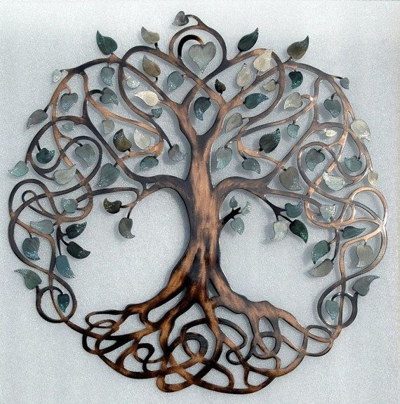 Shades Of Grey Tree Of Life Infinity Tree Metal Wall Art | Tree Of Intended For Tree Of Life Metal Wall Art (View 2 of 10)