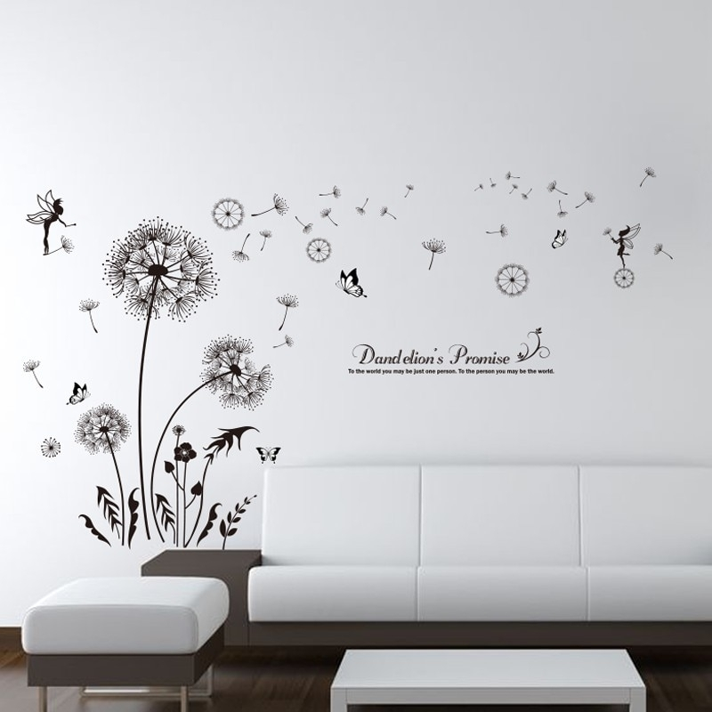 Shijuehezi] Black Color Dandelions Wall Stickers Pvc Material Diy In Dandelion Wall Art (Image 20 of 25)