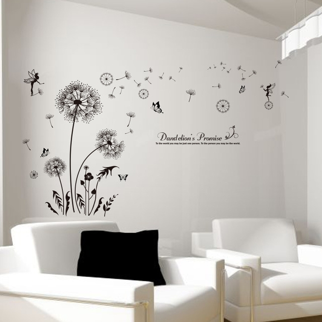 Shijuehezi] Black Dandelion Wall Stickers Vinyl Diy Flower Mural Art With Regard To Dandelion Wall Art (Image 21 of 25)
