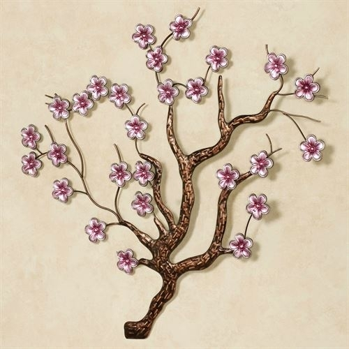 Shimmering Cherry Blossoms Metal Wall Art In Cherry Blossom Wall Art (View 6 of 25)