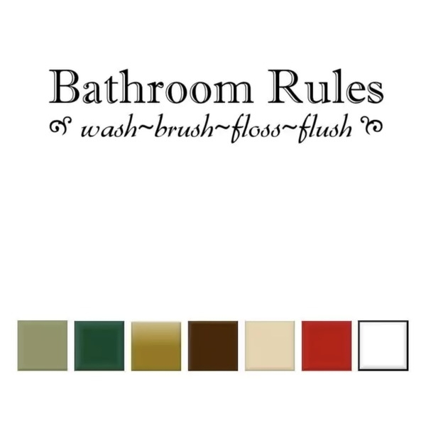 Shop Bathroom Rules' Vinyl Wall Art Decal – Free Shipping On Orders Throughout Bathroom Rules Wall Art (View 12 of 25)