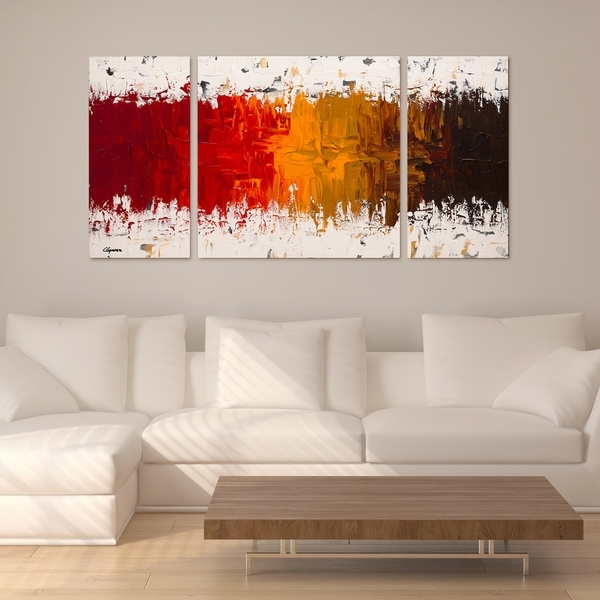 Shop Carmen Guedez 'luminescence' 30X60 Triptych Canvas Wall Art In Triptych Wall Art (Image 11 of 25)