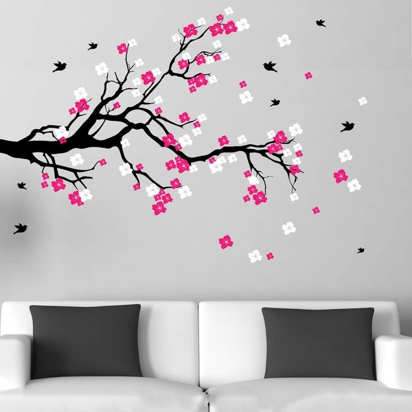 Shop Cherry Blossom Branch With Birds Vinyl Wall Art Decal – Free Intended For Cherry Blossom Wall Art (View 4 of 25)