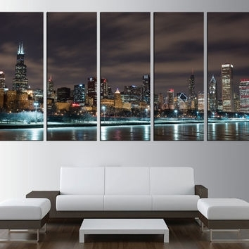 Shop Chicago Skyline Wall Art On Wanelo Pertaining To Chicago Wall Art (View 7 of 10)