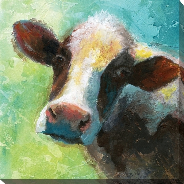 """Shop """"colorful Quirky Cow"""" Giclee Stretched Canvas Wall Art – Free In Cow Canvas Wall Art (View 17 of 25)"""