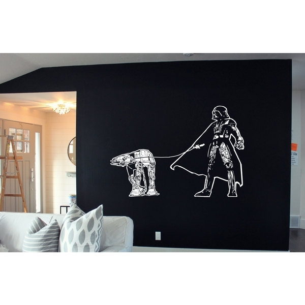 Shop Darth Vader Walking Atat Star Wars White Sticker Vinyl Wall Art Regarding Darth Vader Wall Art (Image 17 of 25)