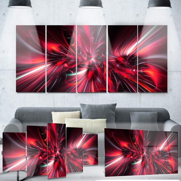 Shop Designart 'red Implosion' Metal Wall Art – On Sale – Free Inside Overstock Wall Art (View 16 of 25)