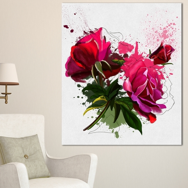 Shop Designart 'red Peonies Sketch Watercolor' Modern Floral Canvas inside Floral Wall Art