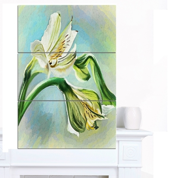 Shop Designart 'white Lily Flower Sketch Watercolor' Modern Floral Within Floral Canvas Wall Art (View 25 of 25)
