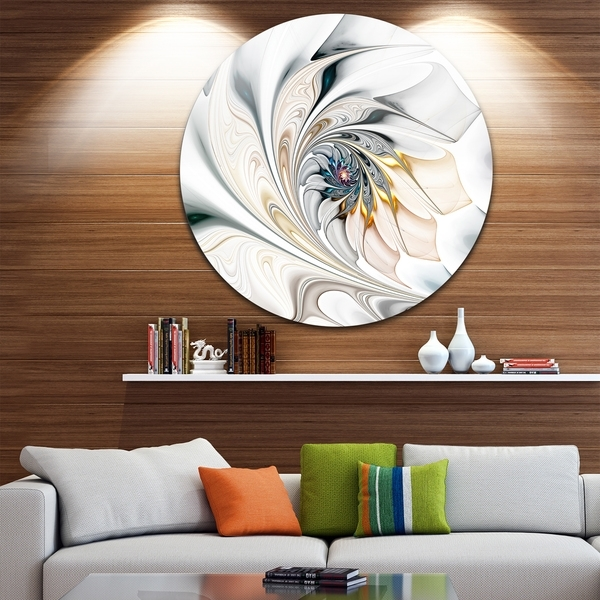 Shop Designart 'white Stained Glass Floral Art' Floral Circle Metal Throughout Overstock Wall Art (Image 10 of 25)