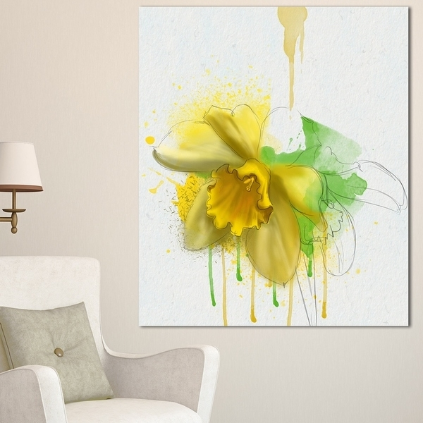 Shop Designart 'yellow Narcissus Flower Watercolor' Modern Floral Inside Floral Canvas Wall Art (View 23 of 25)