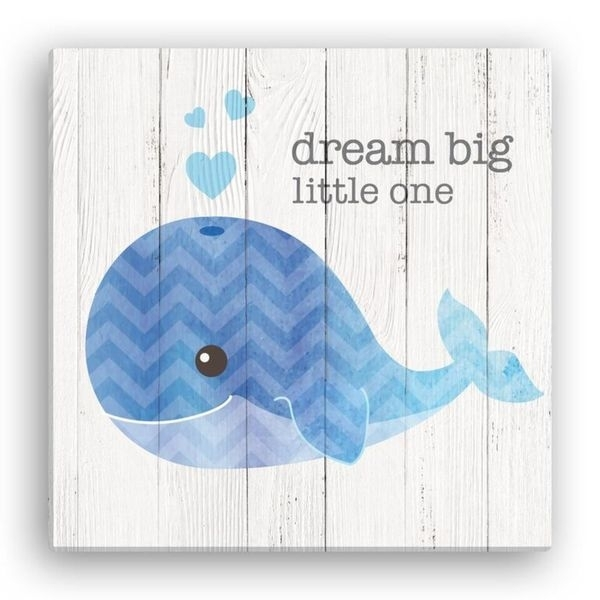 Shop 'dream Big Little One' 16 Inch X 16 Inch Whale Canvas Wall Art Regarding Whale Canvas Wall Art (View 9 of 25)