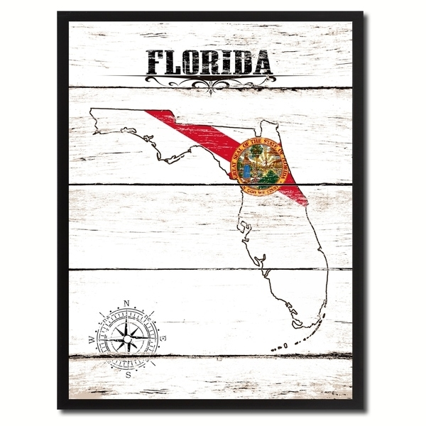 Shop Florida State Vintage Flag Canvas Print Picture Frame Home In Florida Wall Art (View 19 of 20)