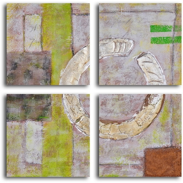 "Shop Hand Painted ""embossed Gold On Tiles"" Canvas Wall Art – Free Within Tile Canvas Wall Art (View 10 of 25)"