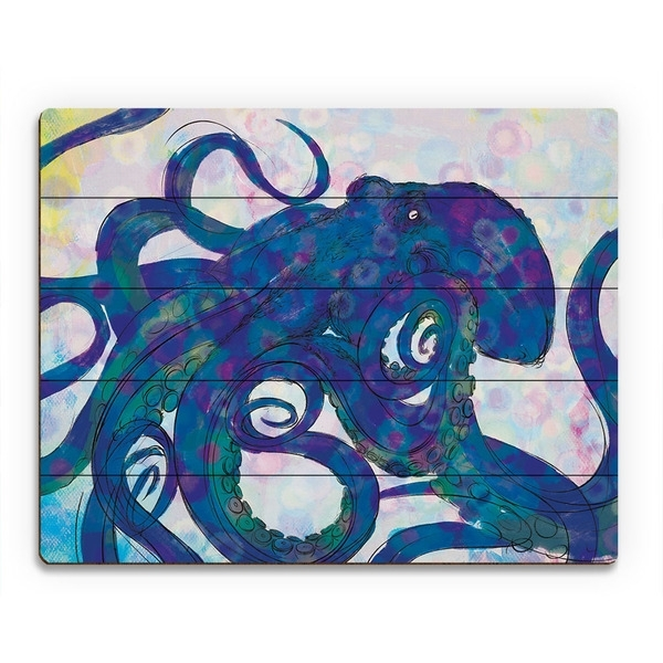 Shop Indigo Octopus Wall Art On Wood – On Sale – Free Shipping Today With Regard To Octopus Wall Art (View 7 of 20)
