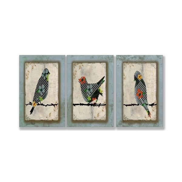 """Shop Jean Plout """"song Bird Trio"""" 3 Piece Triptych Wall Art Set With Regard To Triptych Wall Art (Image 12 of 25)"""