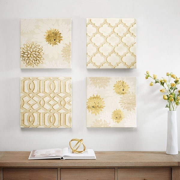Shop Madison Park White Gilded Grandeur Canvas Art With Gold Foil 4 With Gold Foil Wall Art (Image 22 of 25)