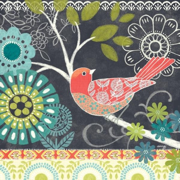 Shop Portfolio Canvas Decor Jennifer Brinley 'chalk Bird Blue' 12X12 Intended For Bird Framed Canvas Wall Art (View 20 of 25)