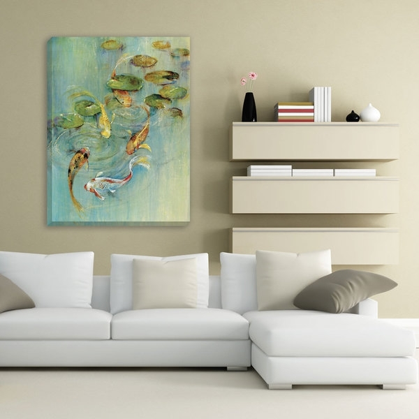 Shop Portfolio Canvas Decor 'koi At Play' Large Framed Printed Pertaining To Large Framed Canvas Wall Art (View 16 of 25)