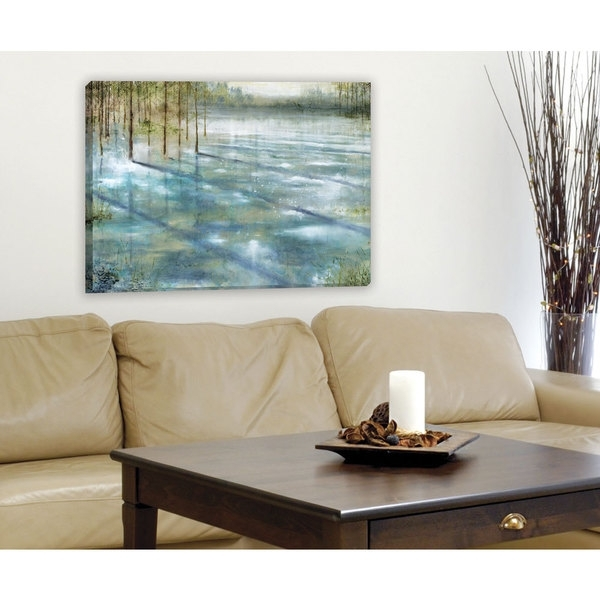Shop Portfolio Canvas Decor 'water Trees' Large Framed Printed Regarding Large Framed Canvas Wall Art (View 6 of 25)