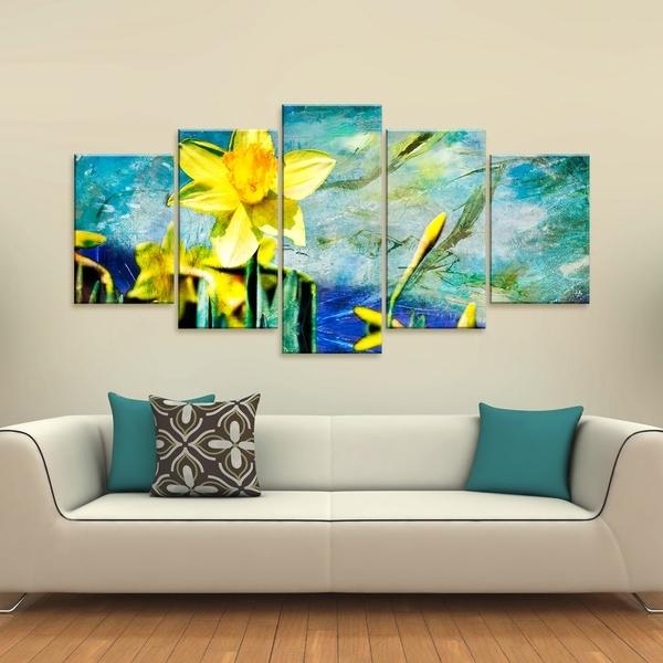 Shop Ready2Hangart 'painted Petals Vii' 5 Piece Canvas Wall Art Within 5 Piece Canvas Wall Art (Image 24 of 25)