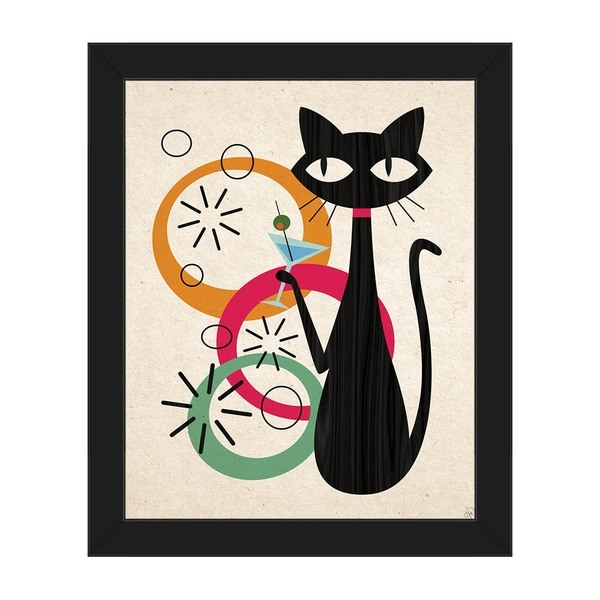 Shop Retro Martini Cat Mod Framed Canvas Wall Art Print – On Sale Pertaining To Cat Canvas Wall Art (View 17 of 25)