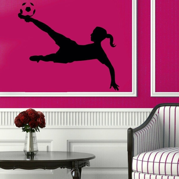 Shop Soccer Wall Decals Girl Football Player Sport Gym Vinyl Sticker Intended For Soccer Wall Art (View 19 of 25)