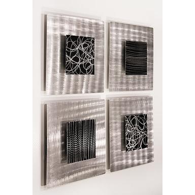 Shop Statements2000 Black/silver Metal Wall Art Accent Sculpture Throughout Silver Metal Wall Art (View 15 of 25)