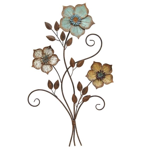 Shop Stratton Home Decor Tricolor Metal Flower Wall Art – Free With Metal Flower Wall Art (Image 8 of 10)