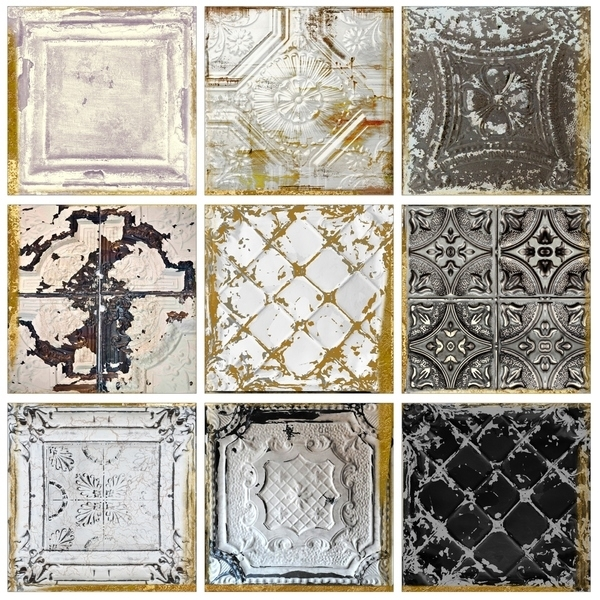 Shop Stupell Industries Vintage Tin Tiles 9Pc Canvas Wall Art Set Pertaining To Tile Canvas Wall Art (Image 22 of 25)
