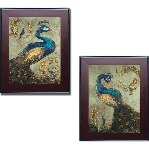 Shop Tiffany Hakimpour 'peacock On Sage I And Ii' Framed 2 Piece With Regard To Set Of 2 Framed Wall Art (Image 14 of 25)