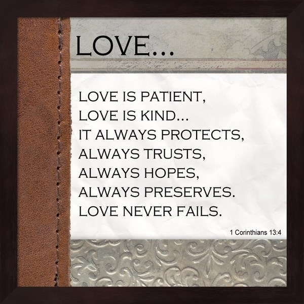 Shop Unknown 'love Is Patient, Love Is Kind' Black Mahogany Frame Throughout Love Is Patient Wall Art (View 7 of 25)