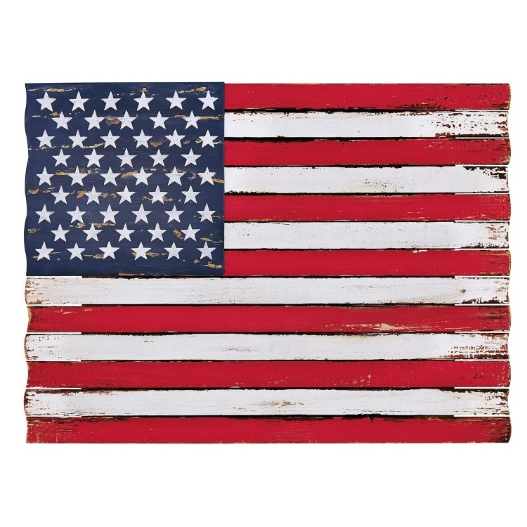 Signature Designashley Denholm Wood And Metal American Flag Wall With Regard To American Flag Wall Art (Image 9 of 10)
