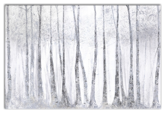 "Silver Birch Trees"" Canvas Wall Art, 36""x24"" – Traditional – Prints Inside Birch Tree Wall Art (View 13 of 25)"