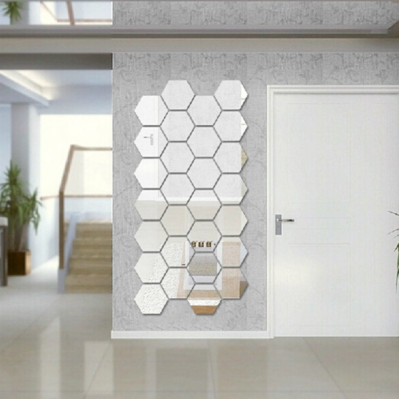 Silver Hexagon 3D Art Diy Mirror Wall Stickers For Home Wall Decal Intended For Mirror Wall Art (Image 10 of 10)