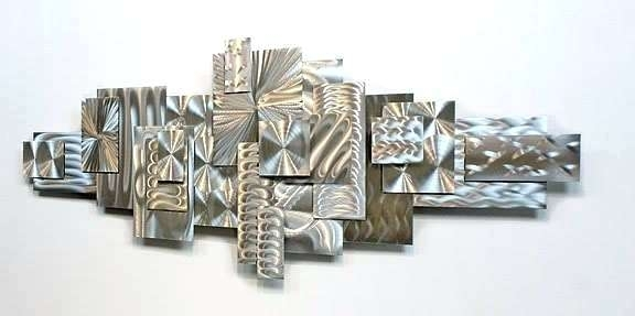 Silver Metal Wall Art Decor Awesome Modern Abstract Sculpture Pertaining To Silver Metal Wall Art (Image 12 of 25)
