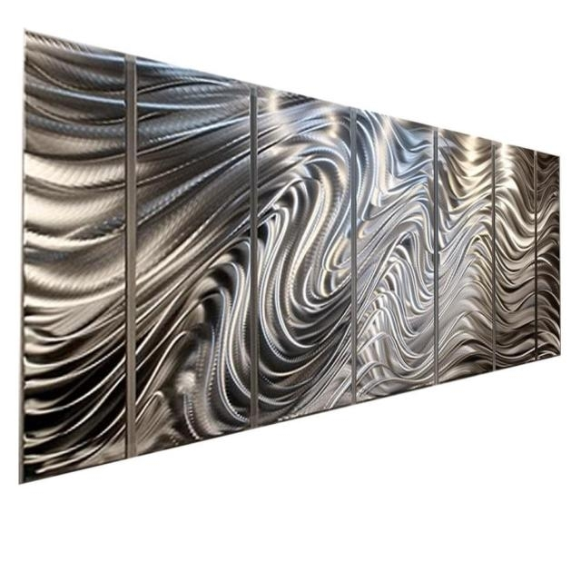 Silver Modern Abstract Metal Wall Art Office Decorjon Allen Inside Silver Metal Wall Art (Image 19 of 25)