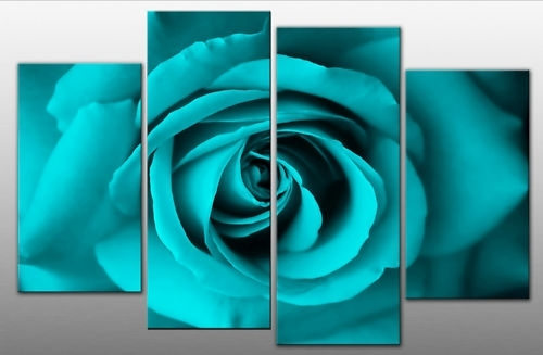 Single Face On Rose On 4 Panel Canvas Wall Art Print – Turquoise Inside Turquoise Wall Art (View 1 of 20)