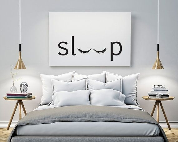 Sleep – Bedroom – Printable Poster – Typography Print Black & White With Art For Walls (Image 18 of 25)