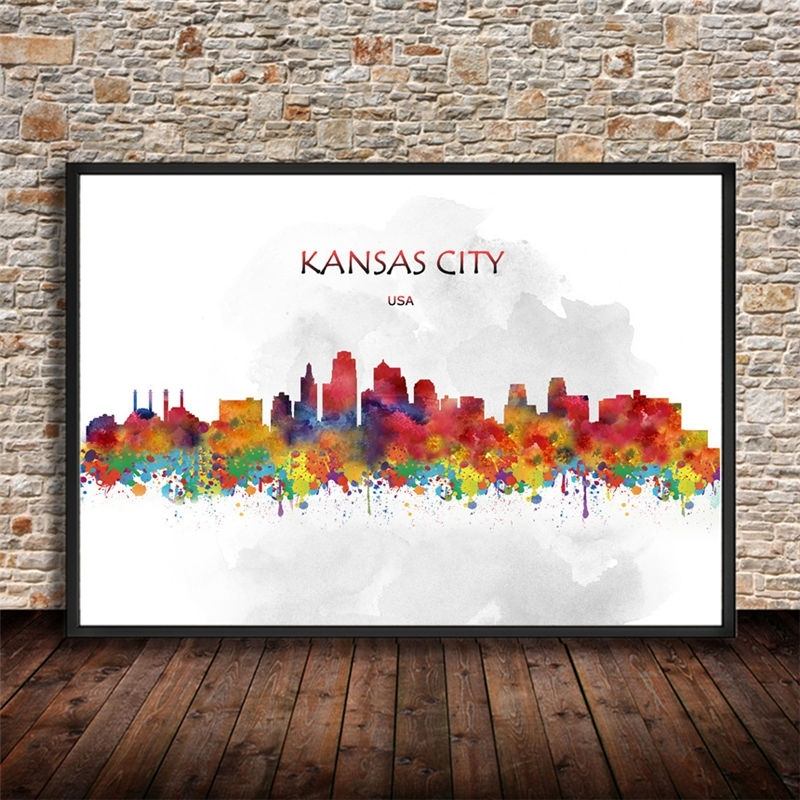 Smartness Design Kansas City Wall Art New Trends Watercolor Skyline Within Kansas City Wall Art (Image 23 of 25)