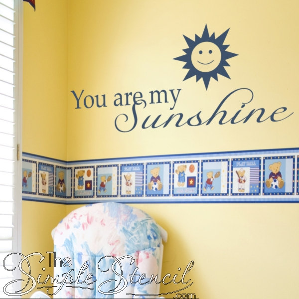 Smiling Sun Wall Decal | You Are My Sunshine Wall Quote | Simple Intended For You Are My Sunshine Wall Art (Image 4 of 10)